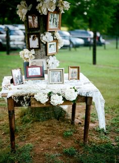 remembrance table with diy paper flowers