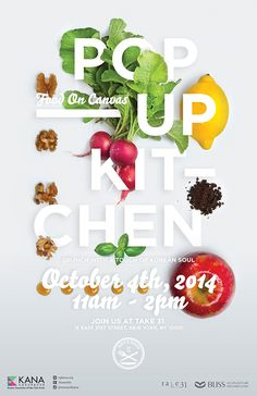Graphic Design - Poster Design Inspiration - POP-UP KITCHEN: Food on Canvas Saved onto Typography Collection in Typography Category Layout Design, Graphisches Design, Design Food, Flyer Design, Design Ideas, Food Typography, Design Typography, Lettering, Cool Poster Designs