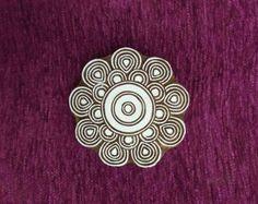 Tampon en bois fleuri Mandala, timbre de la poterie, tampon bois textile, bloc d'impression bois sculpté à la main indien, tissu tampon tjaps