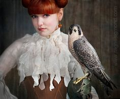 Photo: Ragne Kristine Sigmond  www.ragnesigmond.com  The falcon Lucy courtesy of Ørnereservatet in Denmark (http://www.eagleworld.dk/)  Model: Anette Fredsdatter Heidal  Corset  made by Fredsdatter Heidal for Nymph Nouveau.