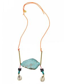Turquoise stone & fluo tube necklace - Neon Surf by Maison Scotch