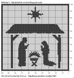 Free Filet Crochet Charts and Patterns: Filet Crochet Nativity Scene - Chart 2  free filet patterns
