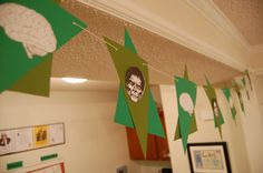 Zombie and brain banner for a zombie party