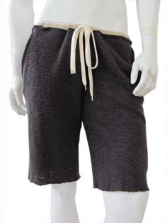 Dark grey bermuda pant in cotton with  bouclé pattern just@ $63.00