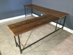 Reclaimed Urban Wood L - Shaped Desk Made From Reclaimed Farm Wood - Gas Pipe…