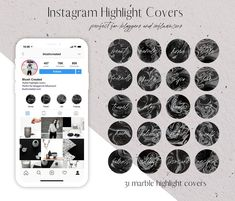 Marble Instagram highlight covers! Create a stylish and cohesive Instagram profile. Perfect for bloggers and influencers. - Blush Created