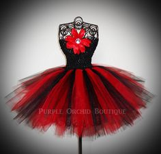 Red & Black Tutu Dress by PurpleOrchidBoutique on Etsy