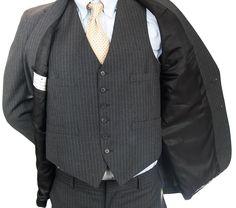 Mens 3 pc Pinstripe Suit Blazer 41R Vest Pants 38x27 Canterbury 2 Button Gray #Canterbury #TwoButton #MensSuit #SomeLikeItUsed