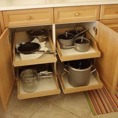 kitchen cabinets organization Pull-out shelves, shelves that slide, roll-out shelves or sliding shelves. Whatever you want to call them, they make the chore of finding t Diy Shelves, Kitchen Cabinet Design, Kitchen Renovation, Kitchen Organization, Storage Cabinets, Kitchen Cabinet Storage, Diy Kitchen, Kitchen Storage, Kitchen Cabinets