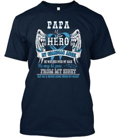 Papa Is My Guardian Angel Shirt New Navy T-Shirt Front