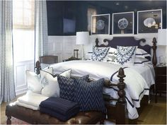 Here's a similar bed. Great wainscoting in the bedroom with a dark slate or black paint.