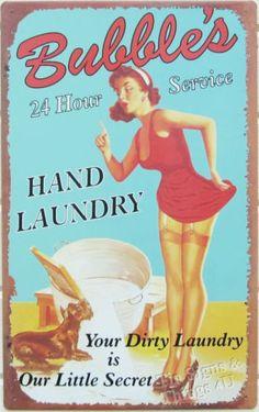 Bubbles-Laundry-Service-PinUp-Girl-TIN-SIGN-metal-vtg-garage-bar-room-decor-OHW