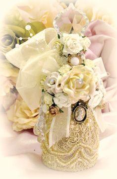 Regency Elegance Antique Gold Beaded Apothecary Potion Bottle