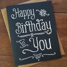 Chalkboard Happy Birthday Card Hand Lettered door PheasantPress