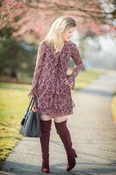 Petite Fashion and Style Blog   Cinq-a-Sept Jasmine Ruffled Silk Dress   Stuart Weitzman Highland Boots   Click to Read More...