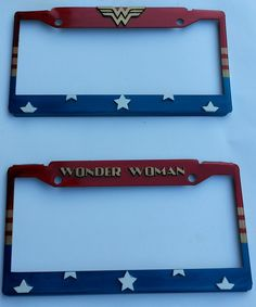 Wonder Woman License plate holders with raised acrylic details on stainless steel.