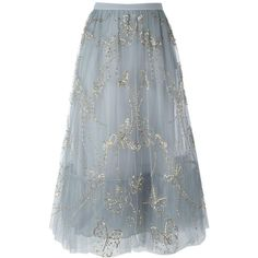 Valentino butterfly embroidered tulle skirt found on Polyvore featuring skirts, bottoms, valentino, grey, patterned skirts, grey sequin skirt, butterfly print skirt, knee length a line skirt and gray tulle skirt
