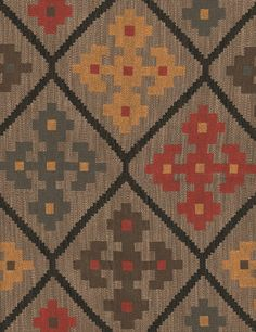 Cabriales Upholstery Fabric Geometric heavyweight upholstery fabric in reds, yellows, browns and greys.