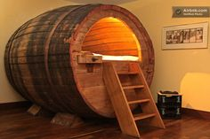 sleep in a beer barrel. i'd rather swim in one and have to drink my way out.