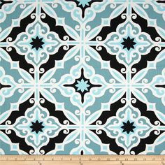 Screen printed on cotton duck; this versatile medium weight fabric is perfect for window accents (draperies, valances, curtains and swags), accent pillows, duvet covers and upholstery. Create handbags, tote bags, aprons and more. *Use cold water and mild detergent (Woolite). Drying is NOT recommended - Air Dry Only - Do not Dry Clean. Colors include white, blue and black.