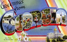 From our collection of vintage large letter, linen postcards from the and Greetings from Georgia. The Greetings from Georgia postcard has been carefully scanned and retouched to look beautiful at even the largest print sizes. Atlanta Georgia, Albany Georgia, Valdosta Georgia, Georgia On My Mind, Postcard Design, Large Letters, Vintage Postcards, Photo Postcards, Bon Voyage