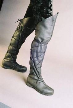 Thigh High Lace Boots, Steam Punk, Leather, Renaissance, Son of Sandlar. $395.00, via Etsy.