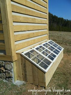 Cold frame attached to shed or side of house - acts as a great place for starting seedlings and repurposing materials