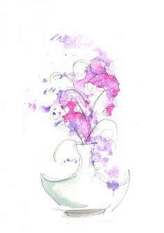 Flowers with Vase | Watercolor and Pencil