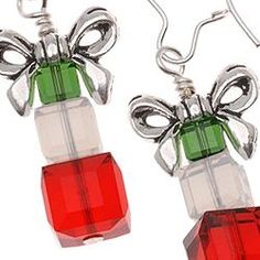 New Holiday Earrings at www.beadaholique.com - 12 free #DIY #jewelry-making project tutorials for Christmas earrings. Easy to put together and great as gifts!