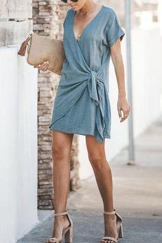 V-Neck Cross Short Sleeved Dresses For Women Solid Color Casual Dresses Short Summer Dresses, Summer Dresses For Women, Short Sleeve Dresses, Dresses For Work, Dresses With Sleeves, Dress Summer, Rompers Women, Jumpsuits For Women, Elegant Dresses