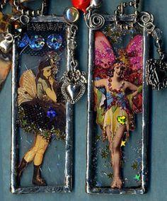 fairy microscope slide pendants