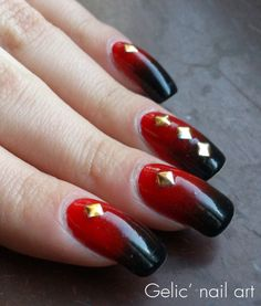Getting nailed week 3 red nails black tips fun two colors gelic nail art black and red gradient with gold metal studs prinsesfo Images