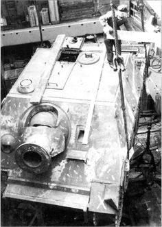 A Sturmriger being loaded into a cargo ship possibly as a war prize to an Allied country after the war.