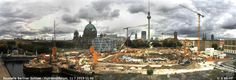 Start of the reconstruction of the Berlin City Palace (Stadtschloss). Panorama view from http://www.cityscope.de/bss/