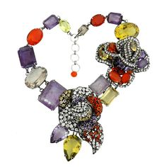 Iradj Moini Amethyst Carnelian Statement Necklace