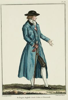 LÉVITE REDINGOTE. These Redingotes have succeeded the Backmanns, and make the grand négligé. The color light blue has been affected to them: they must have the short cut, three scalloped collars, situated in tiers. Revers separated from the collar, held with self-fabric buttons. Sleeves en fourreau, having a little parement en botte, opening underneath to the elbow; the whole edged with a gance of a matching color.1780