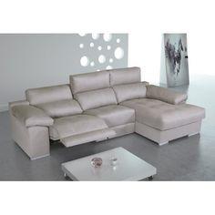 Sofá chaise longue tres plazas relax, tapizado: gris