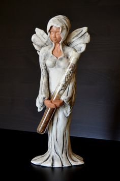 White Angel,  It is my own design , 100% handmade in ceramic with stones and shells from the Holy land painted with angobe.