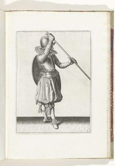 Adam van Breen | De exercitie met schild en spies: de soldaat met de spies schuin in beide handen met de rechterhand bij het hoofd en het schild op de rug (nr. 3), 1618, Adam van Breen, Anonymous, Aert Meuris, 1616 - 1618 | De exercitie met schild en spies: de soldaat met de spies schuin in beide handen met de rechterhand bij het hoofd en het schild op de rug, 1618. Onderdeel van de illustraties in: Adam van Breen, De Nassausche Wapen-Handelinge, 1618, plaat nr. 3. Krijgswezen rond 1600.