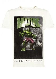 Philipp Plein - 'Super Heroes' T-Shirt White | Be invincible in this PHILIPP PLEIN t-shirt. Funny tee perfect for your casual outfits. Wear it with jeans and a leather jacket for a day off.