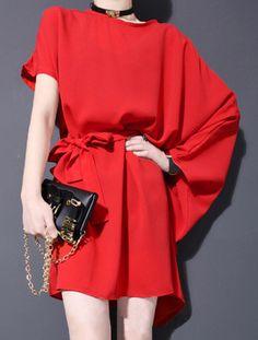 Oversized chiffon mini dress