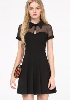 Black Short Sleeve Mesh Peak Collar Skater Dress - Up to Off on Clearance Sale @ Sheinside Cheap Dresses, Cute Dresses, Casual Dresses, Cute Outfits, Mini Dresses, Elegant Dresses, Mini Shirt Dress, Skater Dress, Dress Up