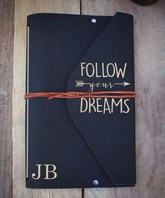 Black 'Follow Your Dreams' Personalized Folio Travel Journal #ad