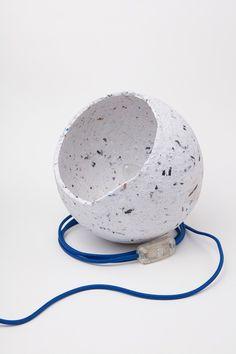 Mihnea Ghildus Romanian brand Dizainar showcased a range of craft-focused design at IMM Cologne, including papier-mâché lamps by Atelier Studio Lighting, Lighting Design, Concrete Lamp, Paper Clay, Paper Art, Led, Sustainable Design, Industrial Design, Contemporary Design