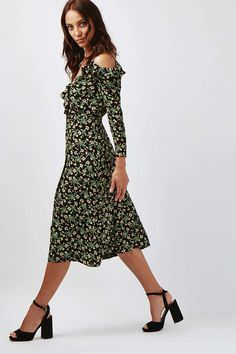 TALL Busy Garden Ruffle Dress