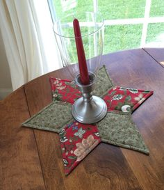 French Country Star Candle Mat in red and green by seaquilt