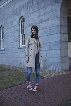 Madewell Trench coat, Jcrew Stripe shirt, gap girlfriend jeans, red converse high tops.