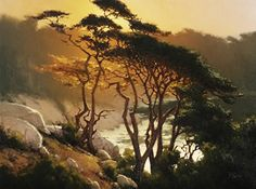 Sunset Above Blue Fish Cove by Brian Blood Oil ~ 30 x 40