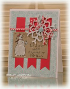 Snowman Christmas card using Stampin' Up! It's Snow Time on Crumb Cake paper. Stampin Up Christmas, Christmas Snowman, Christmas Cards, Snowman Cards, Chalk Markers, Paper Cake, Colorful Garden, Stampin Up Cards, Twine
