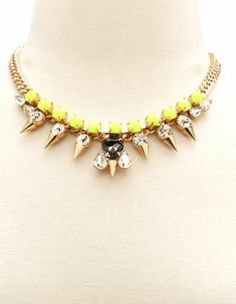 spiked neon bead necklace